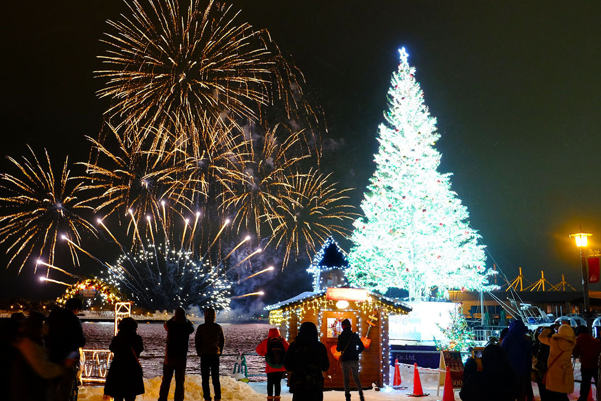 社会貢献の一環として、毎年12月に行われる「はこだてクリスマスファンタジー」に協力。約20mの巨大ツリーは、当社所有のデッキバージ(台船)によって海に浮かびます。
