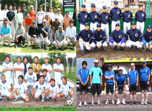 当社は、社内の部活動が盛んです。(写真左上から、ゴルフ部、野球部、サッカー部、マラソン部)