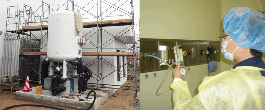 写真左)ガス設備設置の作業風景、右)医療用ガスの保守点検作業風景