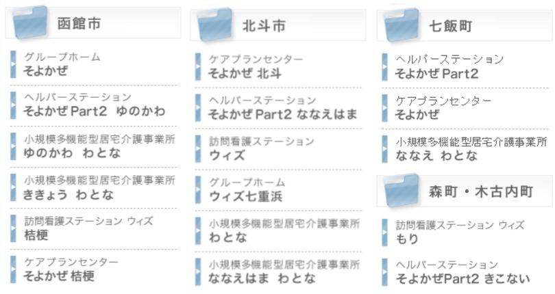 函館、道南で全17事業所を運営(2017年3月現在)